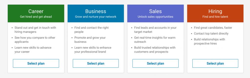 business tolls - linkedin premium options page